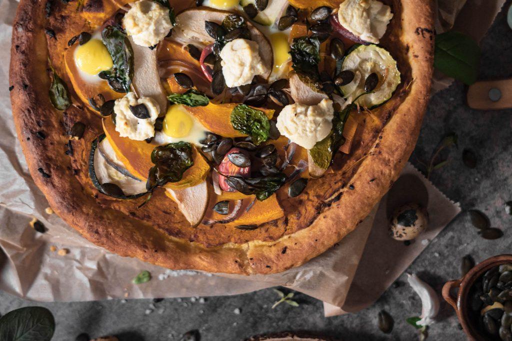 Pizza recepty, Jesenná pizza s pečenou tekvicou, špenátom a ricottou